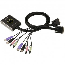 Mini Switch KVM USB Video DVI Audio e Microfono, CS682