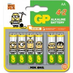 Blister 4+2 Batterie Alcaline AA Stilo GP Minions