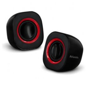 """CASSE ATLANTIS """"SoundPower 410"""", Set di mini-casse stero amplificate per computer e portatile, Nero Lucido, P003-C03-B"""