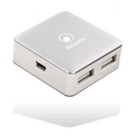 HUB ATLANTIS P014-UH28 4 porte USB-2.0. Piccolo e portatile per PC e Notebook. Cavo.Finitura bianca con cover alluminio
