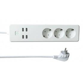 Multipresa Intelligente 3 Prese Schuko 4 USB Controllo Vocale, R4028