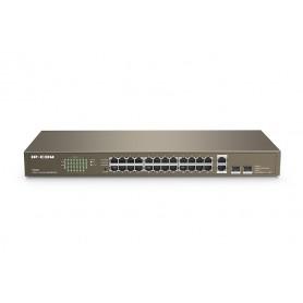 Switch 24 porte unmanaged 10 / 100Mbps con 2 porte Uplink Gigabit e 2 slot SFP