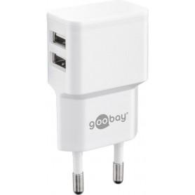 Caricatore da Muro 2 porte USB-A Slim Design 12W Bianco