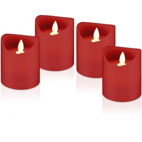 Set di 4 Candele a LED in Cera Rossa