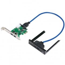 Scheda PCIe 2 porte USB3.0 + 2 porte USB3.0 su pannello frontale