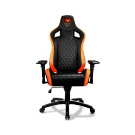 COUGAR ARMOR S GAMING CHAIR IN PELLE PVC, PATTERN A FORMA DI DIAMANTE, SCHIENALE E BRACCIOLI REGOLABILI, SUPPORTO LOMBARE, BASE
