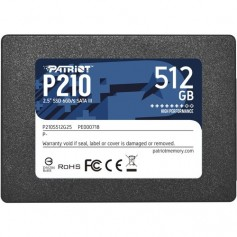 "SSD PATRIOT 512GB P210 2.5"" SATA3 READ:520MB/WRITE:450 MB/S - P210S512G25 - GAR. 3 ANNI"