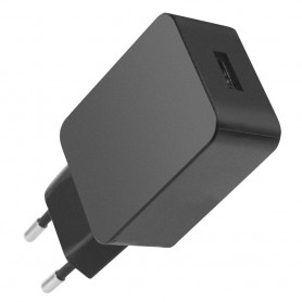 Caricatore USB 2,4A Compatto Spina Europea 2 pin Nero