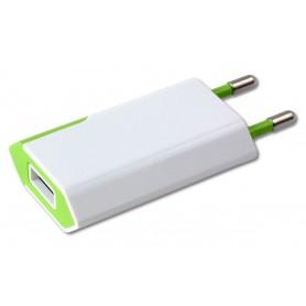 Caricatore USB 1A Compatto Spina Europea Bianco/Verde