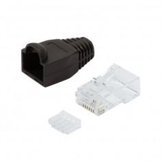 Plug Cat.6 RJ45 e Copriconnettore per Cavo Non Schermato, 100pz Nero