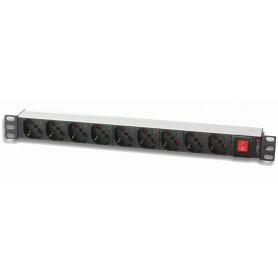 Multipresa 9 Posti da Rack 19'' con Interruttore 1 HE