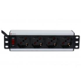 Techly Multipresa universale 4 posti rack 10'' con interruttore I-CASE M10-4P