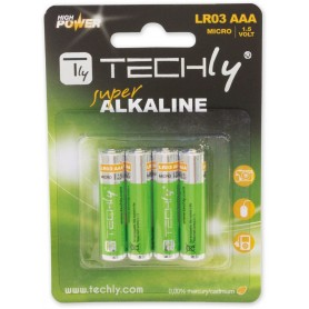 Techly Blister 4 Batterie High Power Mini Stilo AAA Alcaline LR03 1.5V (IBT-KAL-LR03T)