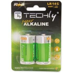 Techly Blister 2 Batterie High Power Mezza Torcia C Alcaline LR14 1,5V (IBT-KAL-LR14T)