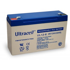 Batteria Ricaricabile 6V 12Ah, Ultracell UL12-6(Faston 187 - 4.8 mm)