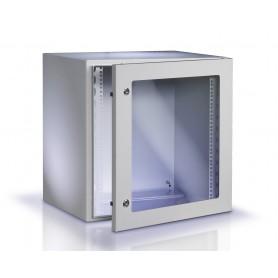 "Techly Armadio Rack 19"" a muro 17U grigio IP65 porta vetro prof. 200mm I-CASE IP-1720GV"