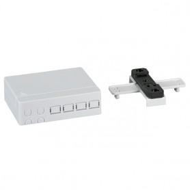 Scatola di connessione indoor FTTH per 4 fibre, 4 adattatori, per guida DIN