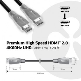 CLUB3D Premium High Speed HDMI™ 2.0 4K60Hz UHD Cable 1 m/ 3.28 ft Certified