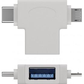 Adattatore a T USB tipo A, Micro-B e USB-C Bianco