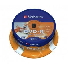 Verbatim DVD-R Wide Inkjet Printable ID Brand 4.7GB DVD-R 25pezzo(i)