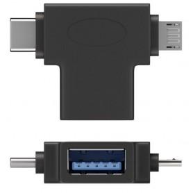 Adattatore a T USB tipo A, Micro-B e USB-C Nero