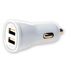 Techly Caricatore da Auto 2p USB 5V 1A&2.1A Bianco (IUSB2-CAR2-2A2P)