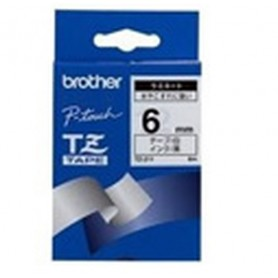 Brother Black on White Gloss Laminated Tape, 6mm TZ nastro per etichettatrice