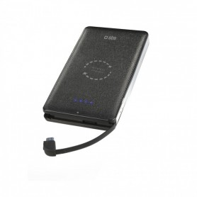SBS POWER BANK POLIMERO 5000 MAH CON 1 USCITA USB 2,1 A E RICARICA WIRELESS QI INTEGRATA NERO