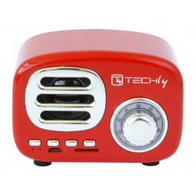 Speaker Bluetooth Wireless, Design Radio Classico, rosso