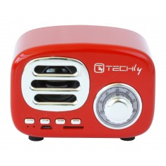 Speaker Bluetooth Wireless, Design Radio Classico, rosso