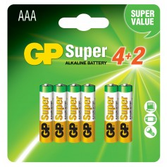 Blister 6 Batterie AAA Mini Stilo GP Super