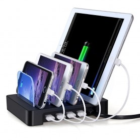 Docking Station 4 Porte USB Ricarica Smartphone e Tablet Nero